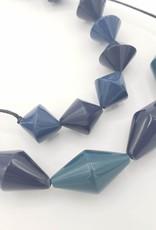 Sylca Designs Black & Navy Diamond Beads on Cord Necklace