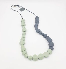 Sylca Designs Sage & Gray Necklace Round Flat Beads