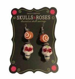 Skulls & Roses Earrings- Orange