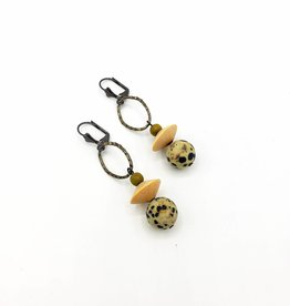 Redux Dalmatian Jasper & Wood Earrings