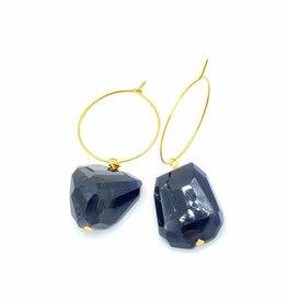 Redux Faceted Fancy Iolite Gold Hoop Earring