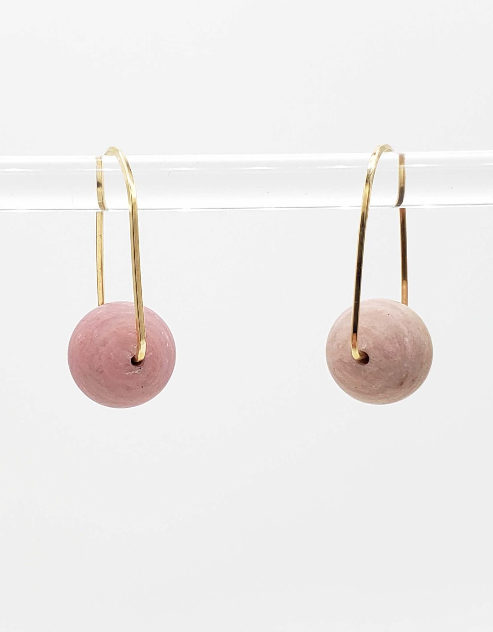 Redux Rhodocrosite Horseshoe Hook Hoop Earrings, Gold Fill Square Wire