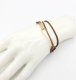 Annika Inez Leather and Gold-Fill Wire Wrap Bracelet