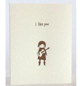 """I Like You"" Guitar Gal, Greeting Card - Fugu Fugu"