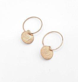 Annika Inez Circle Hoop Dangle Earrings, Rose Gold Brushed