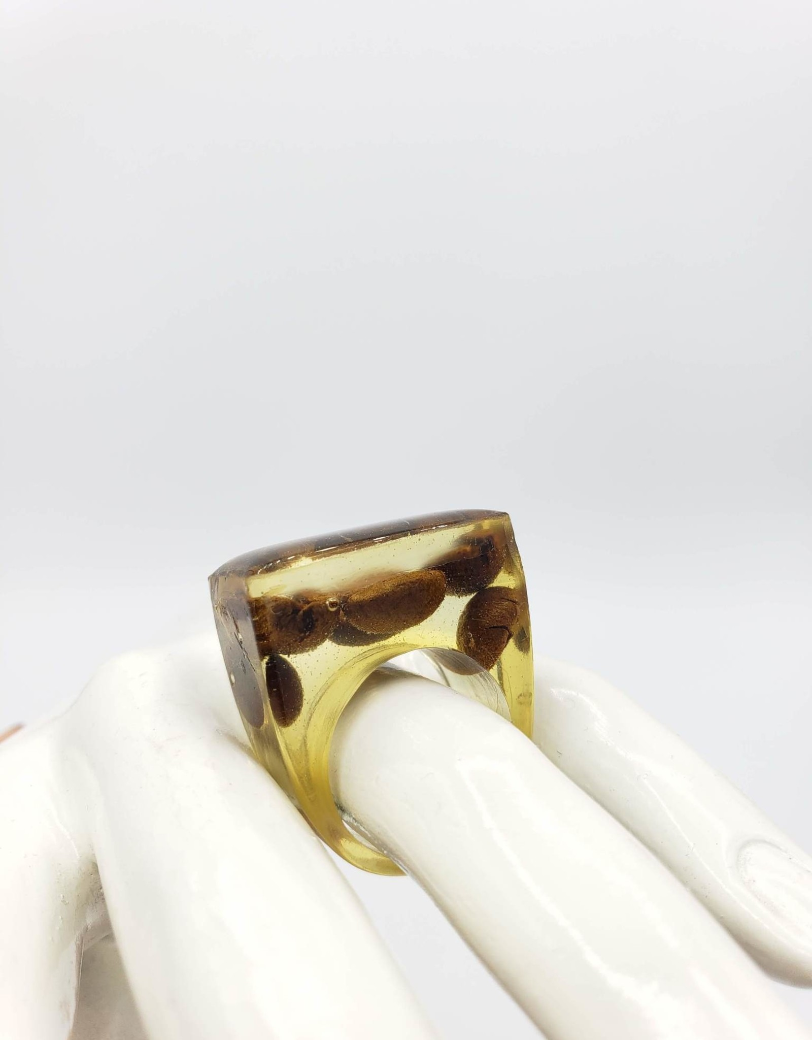 Coffee Bean Cube Resin Ring