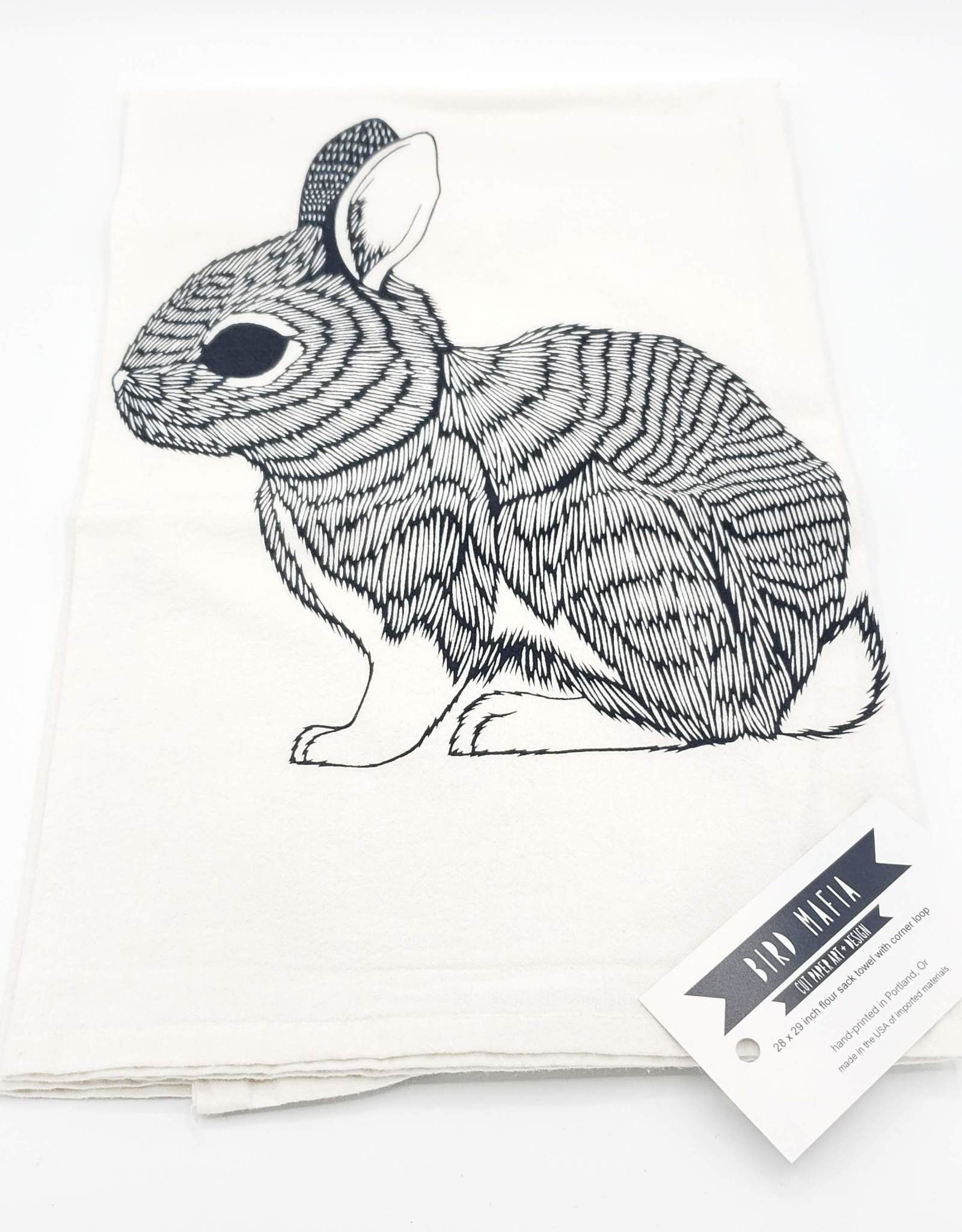Floursack Tea Towel - Black Rabbit
