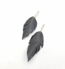 Redux Recycled Bike Tire Feather Earrings