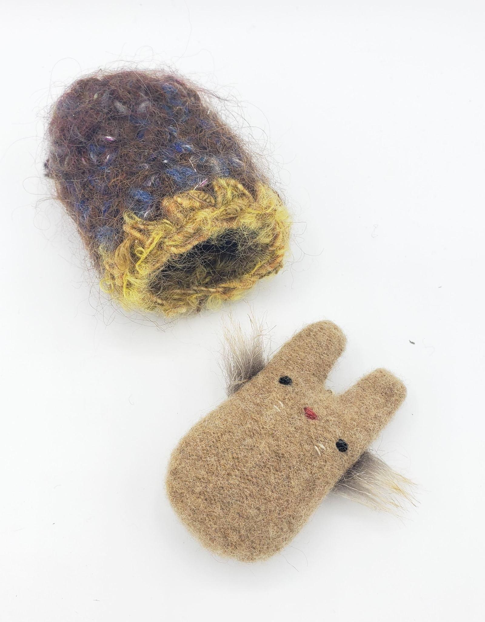 Mocha Tiny Recycled Sweater WeeKinnie Plushie with Nest
