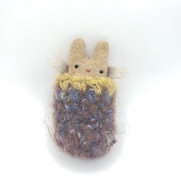 Mocha Tiny Recycled Sweater WeeKinnie Plushie with Nest