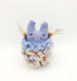 Violet Crumble Tiny Recycled Sweater WeeKinnie Plushie with Nest