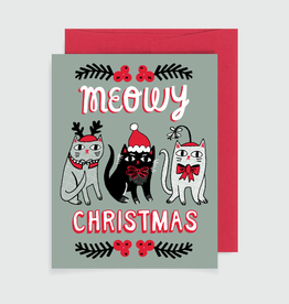 """""""Meowy Christmas"""" Cat Holiday Greeting Card - Allison Cole"""