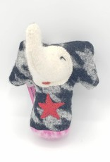 Houndstooth Elephant Recycled Sweater Sprite Plushie with Rattle