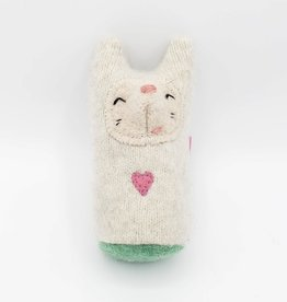Snowy Fox Pink Heart Recycled Sweater Sprite Plushie with Rattle