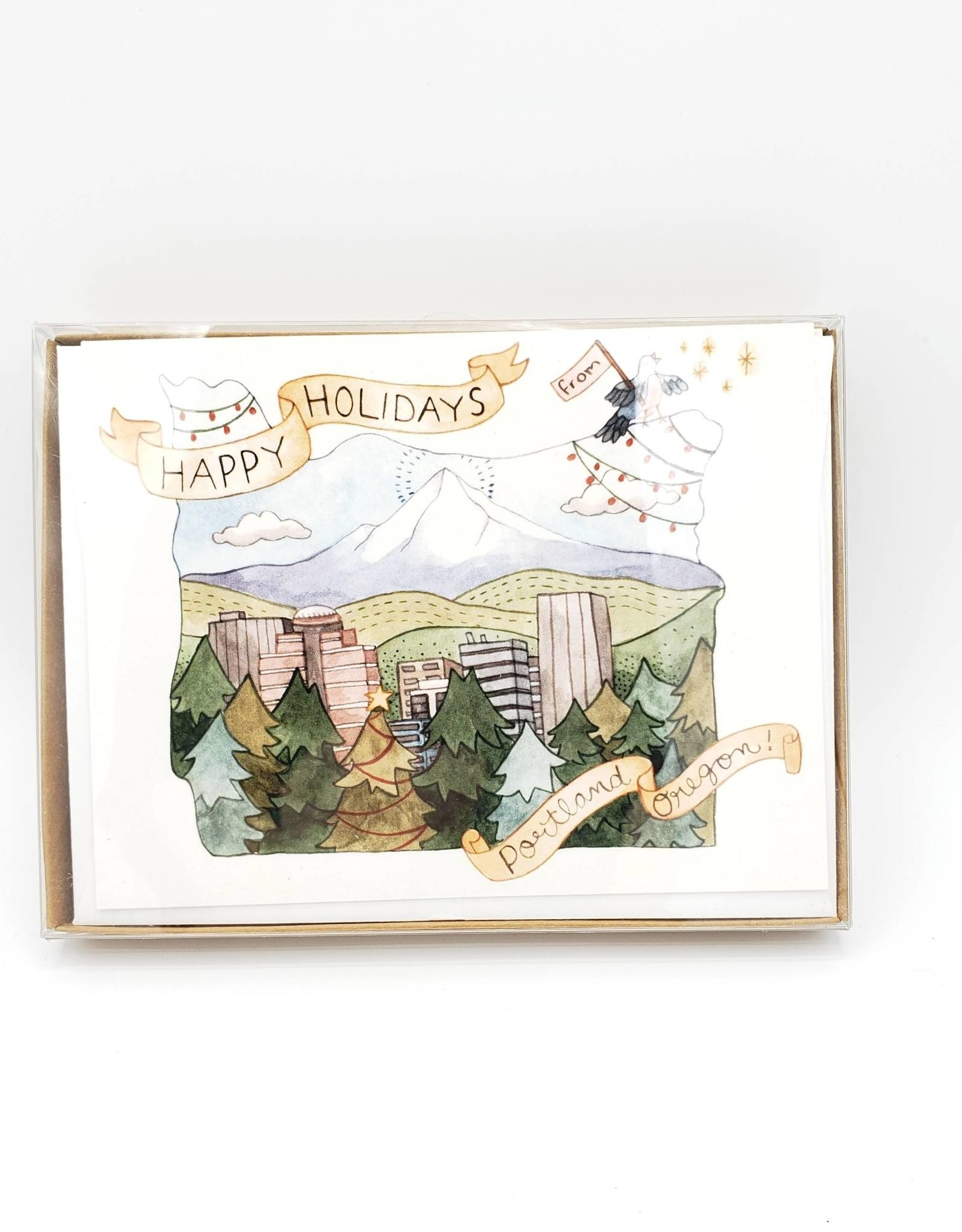 Happy Holidays Portland Greeting Card Box Set - Little Canoe