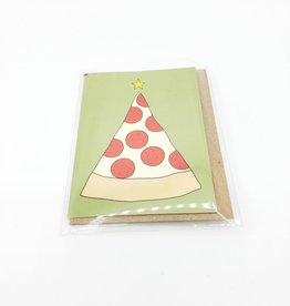 Christmas Tree Pizza Mini Greeting Card - Near Modern Disaster