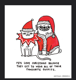 "Gemma Correll ""Pets Love Christmas"" Square Holiday Greeting Card - Gemma Correll"