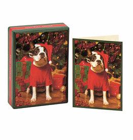 Santa's Little Helper Boston Terrier Boxed Holiday Notecards