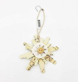 Snowflake Recycled Newsprint & Buttons Ornament