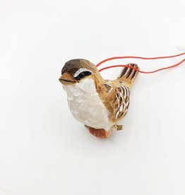Carved Wood Bird Ornament, Small
