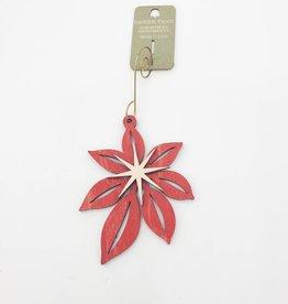 Green Tree Jewelry Poinsettia Ornament Laser-Cut Wood