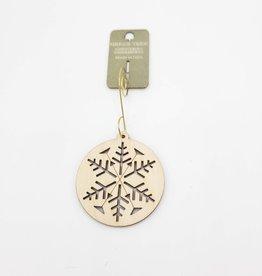 Green Tree Jewelry Snowflake Ornament Laser-Cut Wood