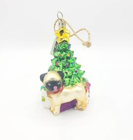 Glass Pug with Christmas Tree Ornament
