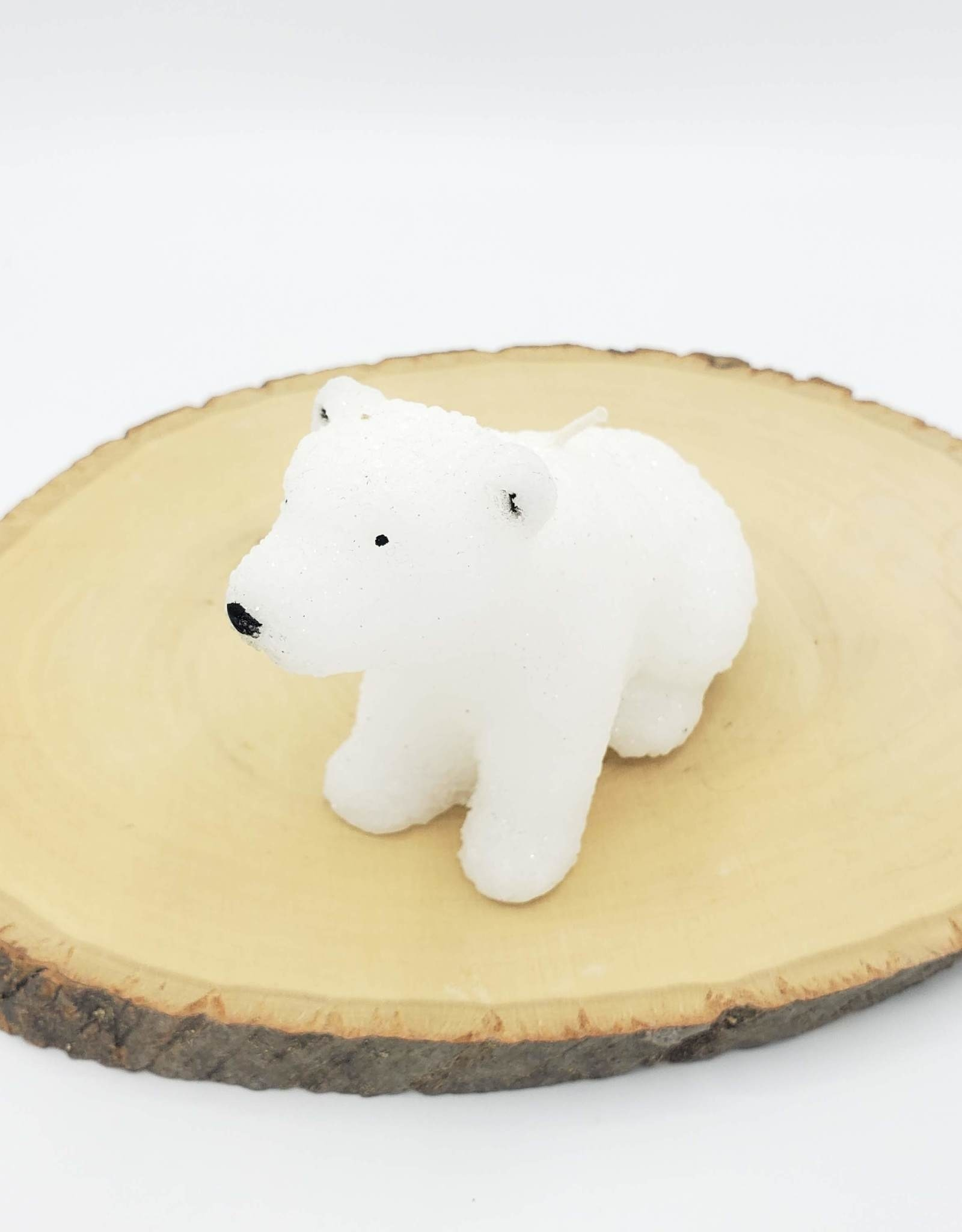 Glittery Polar Bear Candle