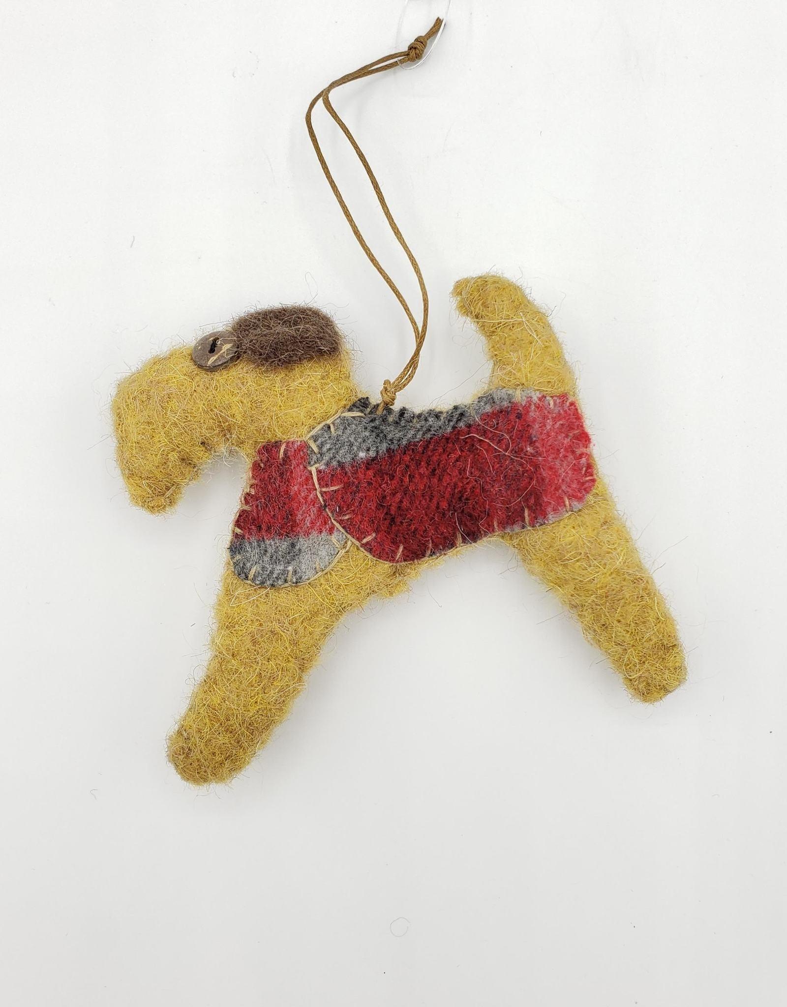 Tan Dog Ornament, Stitched Fabric & Felt