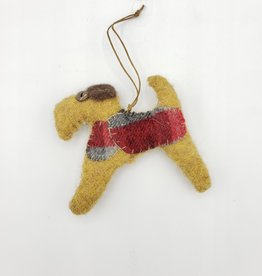 Tan Dog Ornament, Stitched Fabric & Felt