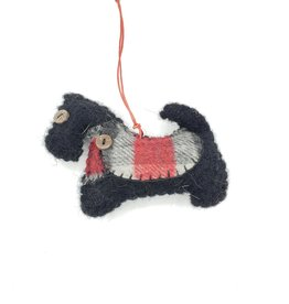 Scottie Dog Ornament, Stitched Fabric & Felt