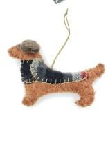 Dachshund Dog Ornament, Stitched Fabric & Felt