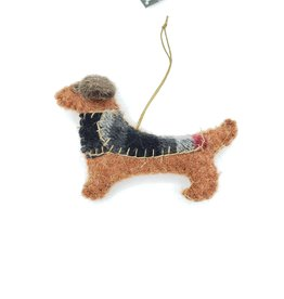 Dachshund Dog Ornament, Stitched Fabric & Felt