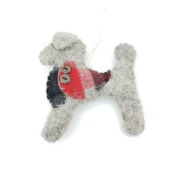 Grey Dog Ornament, Stitched Fabric & Felt