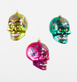 Glass El Muerto Skull Head Ornament