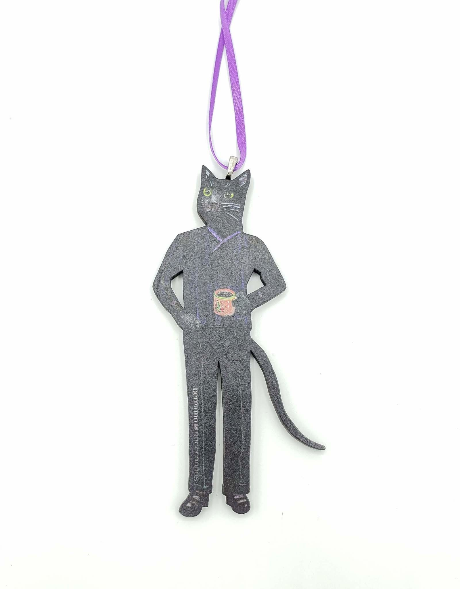 Coffee Cat Cut-out Wood Ornament