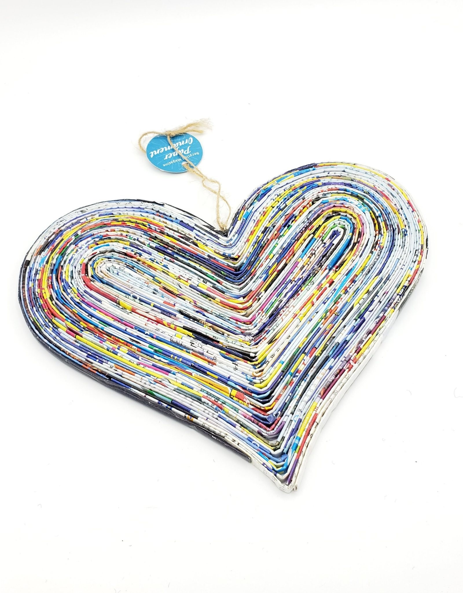 Recycled Magazine Heart Large Ornament