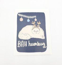 Badgebomb Bah Humbug Cat Holiday Greeting Card -Badge Bomb