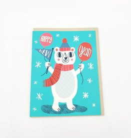 Badgebomb Happy New Year Bear Holiday Greeting Card - Allison Cole