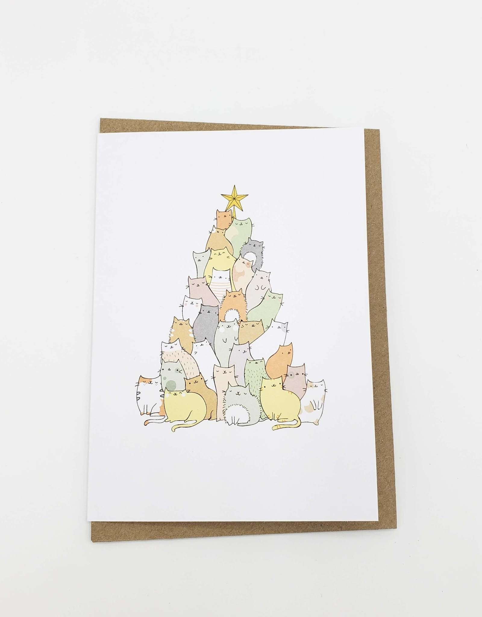 Cat Pile Christmas Tree Holiday Greeting Card- Beccy Kitty Designs