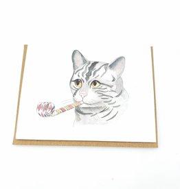 Mincing Mockingbird Party Cat Birthday Greeting Card - The Mincing Mockingbird