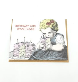 Mincing Mockingbird Birthday Girl Want Cake Greeting Card - The Mincing Mockingbird