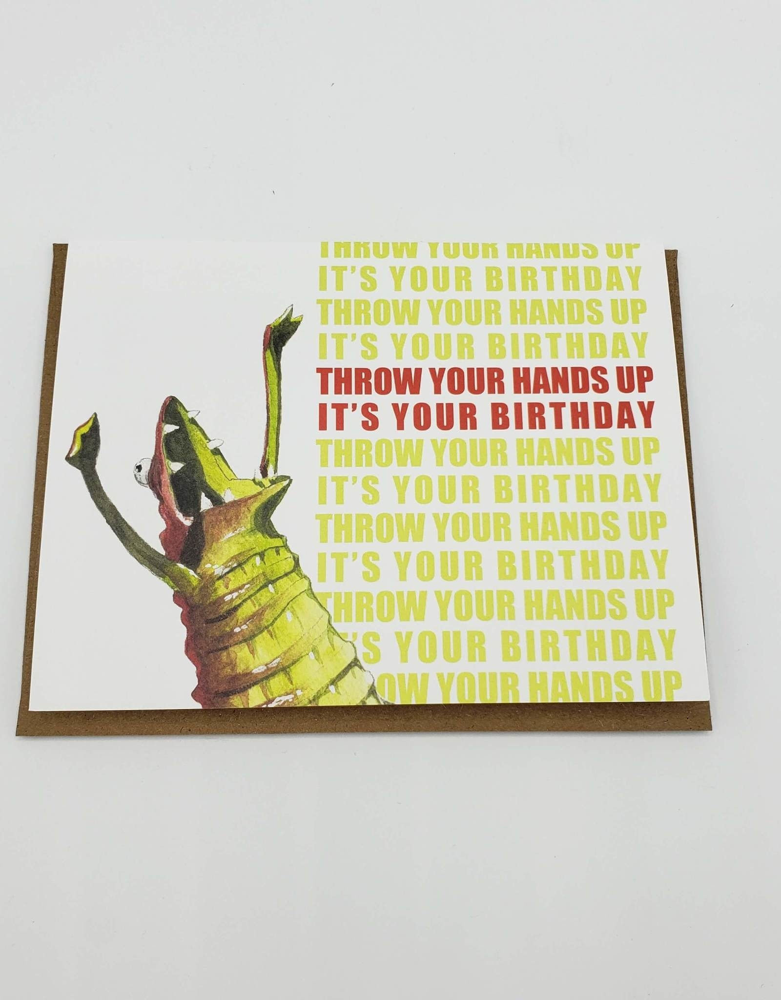Mincing Mockingbird Throw Your Hands Up It's Your Birthday Greeting Card - The Mincing Mockingbird