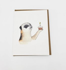 Mincing Mockingbird Cupcake Meerkat Birthday Greeting Card - The Mincing Mockingbird