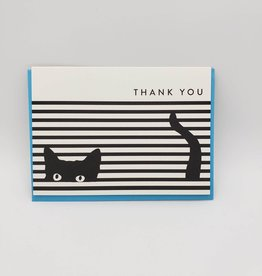 Seltzer Black Cat in Blinds Thank You Greeting Card -Seltzer