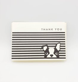 Seltzer Boston Terrier in Blinds Thank You Greeting Card -Seltzer
