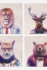 Woodland Animals In Suits Coaster Single - Versatile
