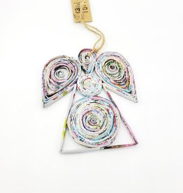 Recycled Rolled Magazine Angel Ornament