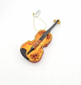 Cello, Violin or Bass Ornament, Glass Brown