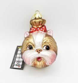 Tan Terrier Dog with Bow, Glass Ornament